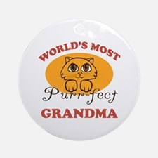 One Purrfect Grandma Ornament (Round)