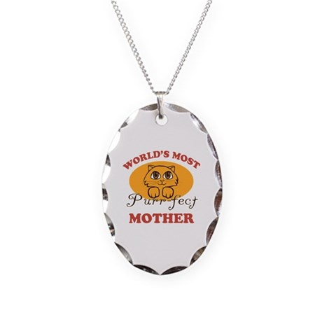 One Purrfect Mother Necklace Oval Charm