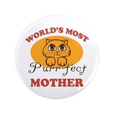 """One Purrfect Mother 3.5"""" Button"""