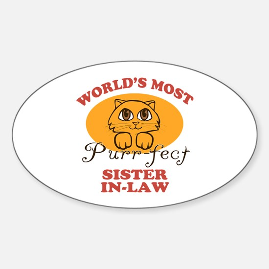 One Purrfect Sister-In-Law Sticker (Oval)
