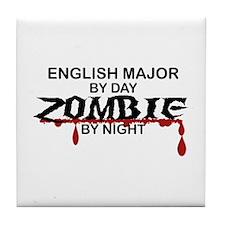 English Major Zombie Tile Coaster