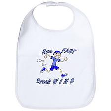 run fast - break wind - blue Bib