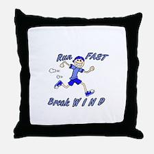 run fast - break wind - blue Throw Pillow
