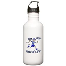 run fast - break wind - blue Water Bottle