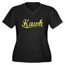 Hawk, Yellow Women's Plus Size V-Neck Dark T-Shirt