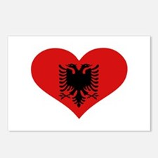 Albania flag heart Postcards (Package of 8)