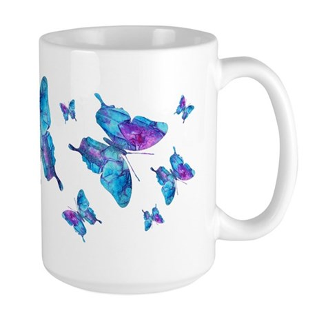 Electric Blue Butterfly Dance Large Mug