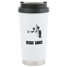 Jesus Saves Soccer Travel Mug
