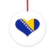 Bosnia and Herzegovina flag heart Ornament (Round)