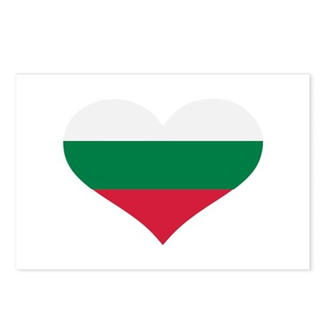 Bulgaria flag heart Postcards (Package of 8)