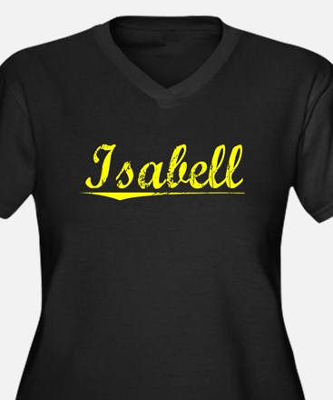 Isabell, Yellow Women's Plus Size V-Neck Dark T-Sh
