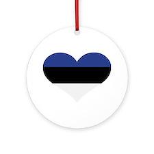 Estonia flag heart Ornament (Round)