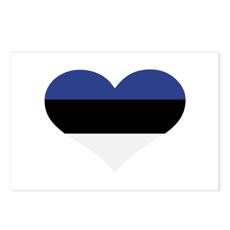 Estonia flag heart Postcards (Package of 8)