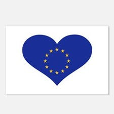 Europe EU flag heart Postcards (Package of 8)