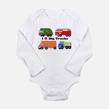 I Heart Big Trucks Long Sleeve Infant Bodysuit