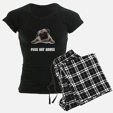 Pugs Not Drugs Black Pajamas