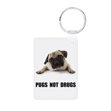 Pugs Not Drugs Black Aluminum Photo Keychain