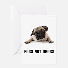 Pugs Not Drugs Black Greeting Card