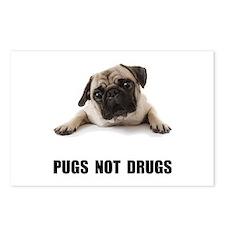 Pugs Not Drugs Black Postcards (Package of 8)