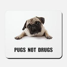 Pugs Not Drugs Black Mousepad