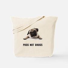 Pugs Not Drugs Black Tote Bag