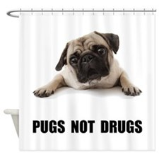 Pugs Not Drugs Black Shower Curtain