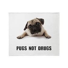 Pugs Not Drugs Black Throw Blanket