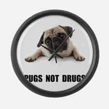 Pugs Not Drugs Black Large Wall Clock