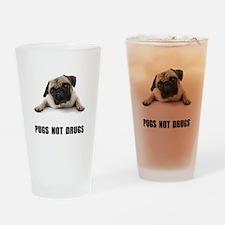 Pugs Not Drugs Black Drinking Glass