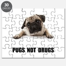 Pugs Not Drugs Black Puzzle