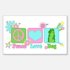 Peace Love Dog Sticker (Rectangle)