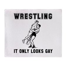 Wrestling Looks Gay Throw Blanket