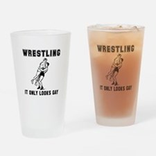 Wrestling Looks Gay Drinking Glass
