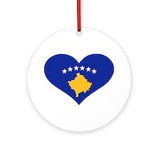 Kosovo flag heart Ornament (Round)