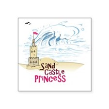"Sand Castle Princess Square Sticker 3"" x 3"""