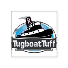 """Breast Cancer Awareness Tugboat Square Sticker 3"""""""