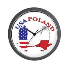 Poland USA Wall Clock