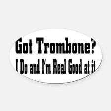 trombone33.png Oval Car Magnet