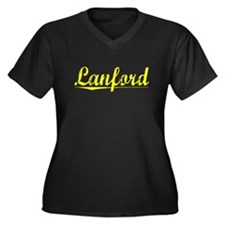 Lanford, Yellow Women's Plus Size V-Neck Dark T-Sh