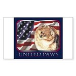 Pomeranian United US Flag Rectangle Sticker