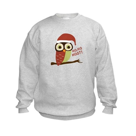 Santa Owl Christmas Kids Sweatshirt