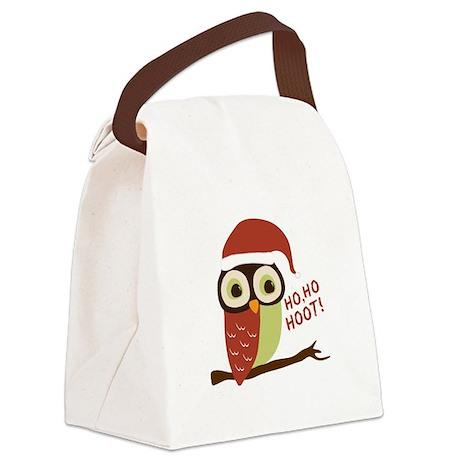 Santa Owl Christmas Canvas Lunch Bag