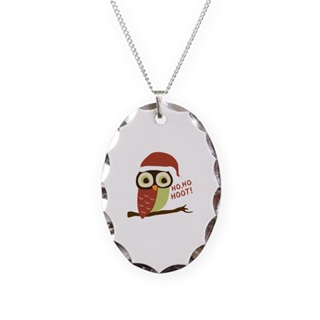 Santa Owl Christmas Necklace Oval Charm