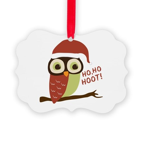 Santa Owl Christmas Picture Ornament