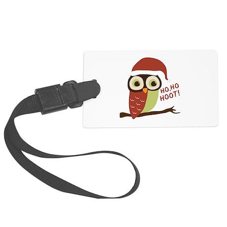 Santa Owl Christmas Large Luggage Tag