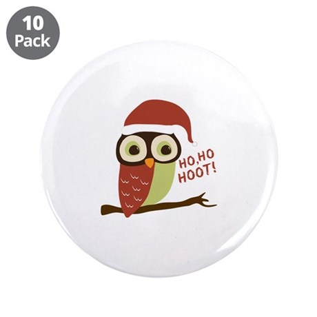 "Santa Owl Christmas 3.5"" Button (10 pack)"