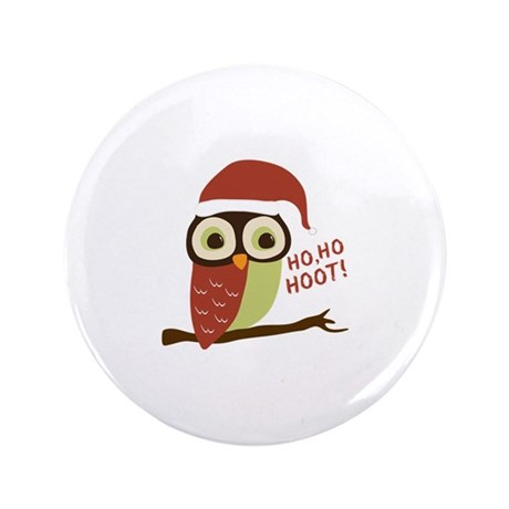 "Santa Owl Christmas 3.5"" Button (100 pack)"