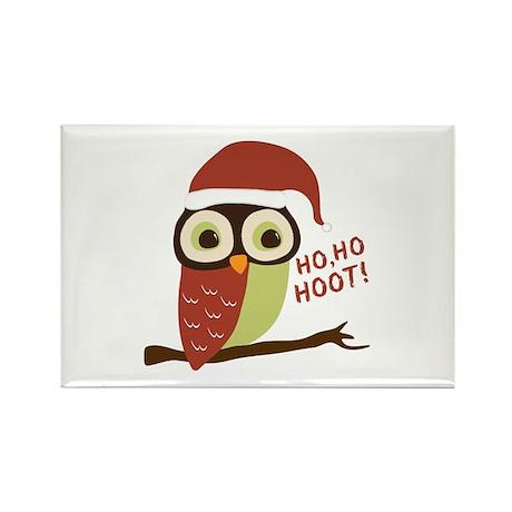 Santa Owl Christmas Rectangle Magnet (100 pack)