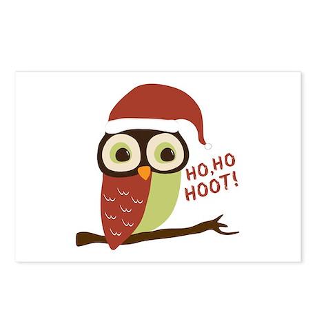 Santa Owl Christmas Postcards (Package of 8)