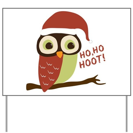 Santa Owl Christmas Yard Sign
